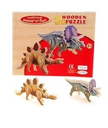 Wood 3D Dinosaur Puzzle Assortment sold by Gifts for little hands