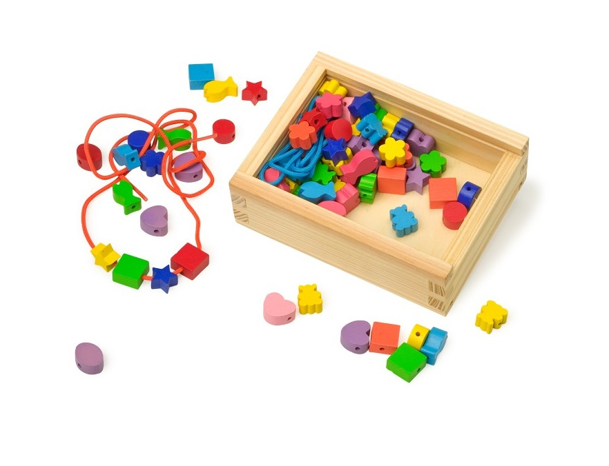 Creative Threading -Wooden Toy Box of Beadssold by Gifts for little hands